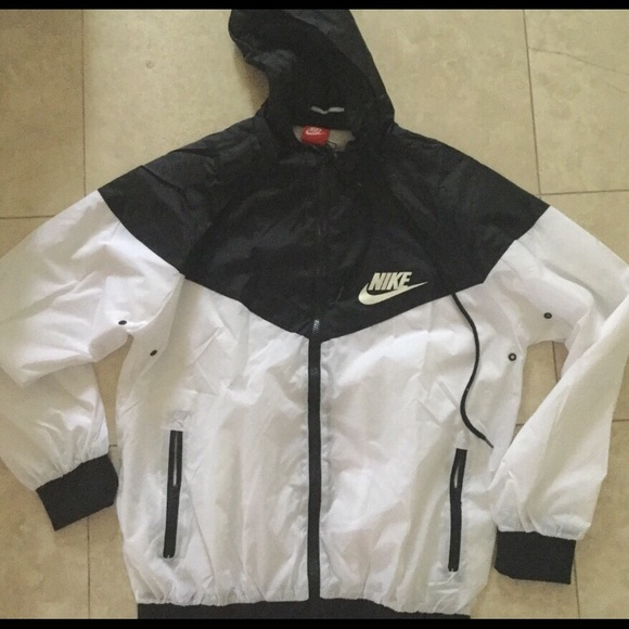 really comfortable wholesale sales best loved Nike windbreaker black and white jacket